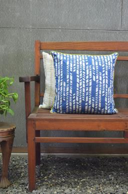 Yamini Blue Texture Matrix Cushion Cover