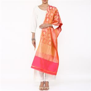 MAGENTA AND ORANGE DUAL COLOUR BANARASI SILK DUPATTA