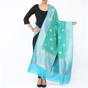 LIGHT TEAL WITH TURQOISE BORDER BANARASI DUPATTA