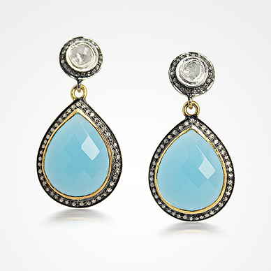 Diamond Polki & Chalcedony Earrings