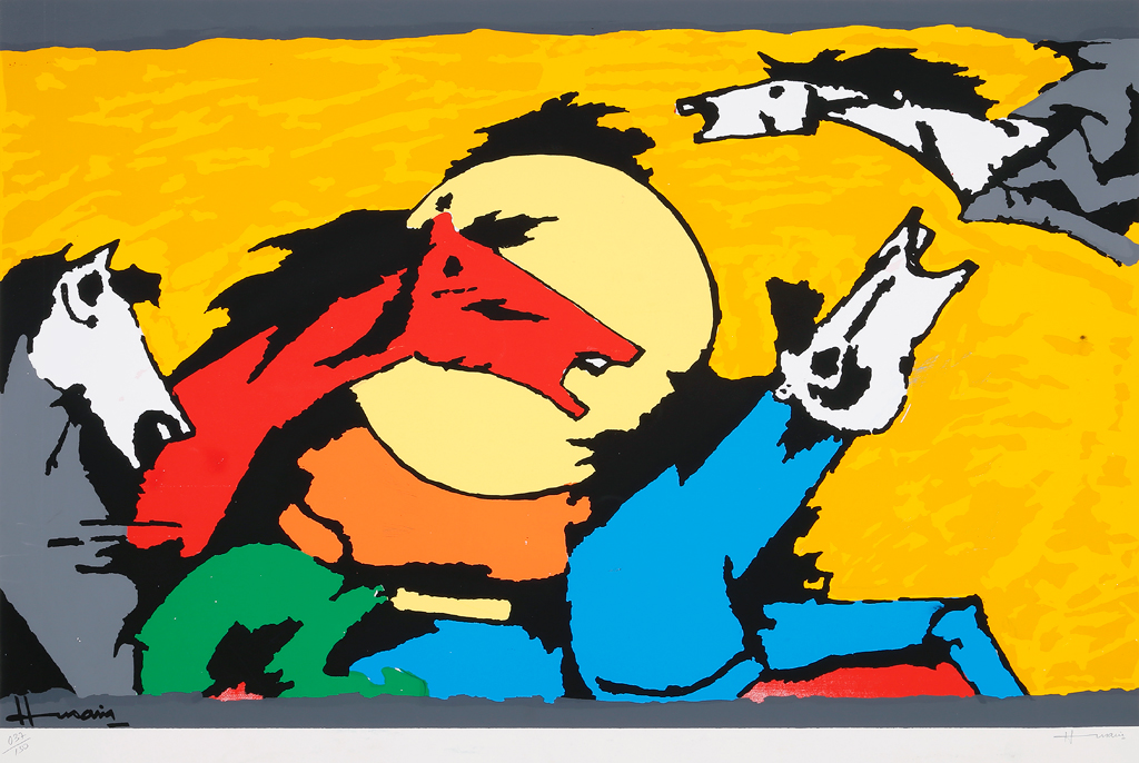 Limited edition M.F. Husain signed serigraphs for sale