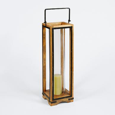 Wood & Glass Lantern L